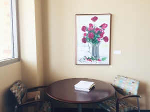 John Hansegger – Burgundy Flowers (c2014.04.001) in the Stark offices
