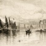 Drawing of boats on the water