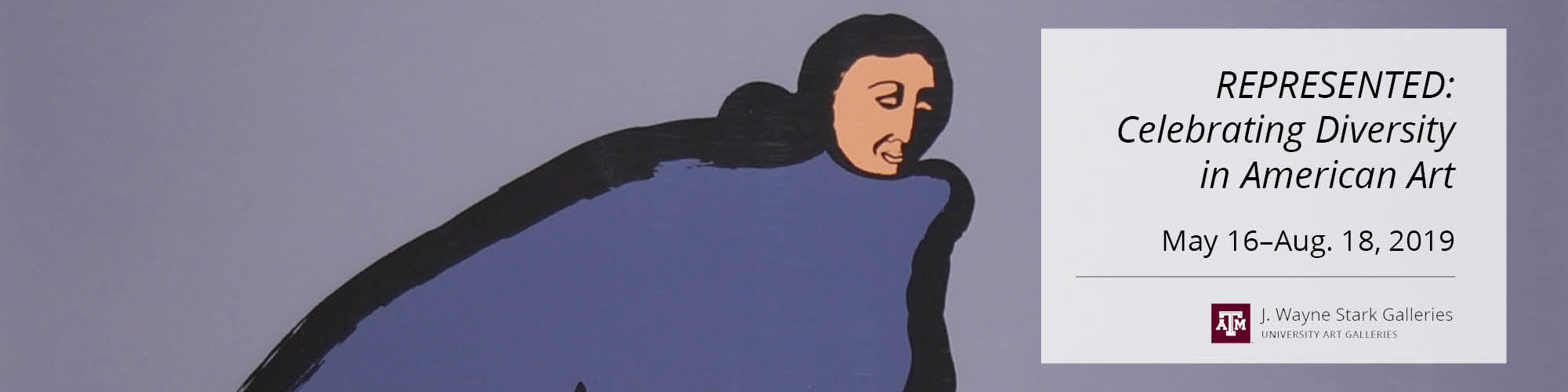 Kneeling woman with hands clasped sits in three quarter profile facing right. She is dressed in a deep blue full length dress sketched in heavy black outline on a purple background.