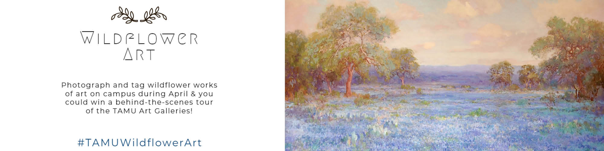Painting of bluebonnets, cacti, and trees in a field
