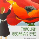 Book cover; illustration of Georgia O'Keefe painting her famous red poppies.