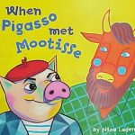 Book cover. Illustration of a pig in a red beret and a Moose in a green plaid shirt and glasses. Both standing upright.