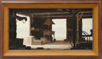 Oil painting of the interior of an open blacksmith shop, complete with the tools of the trade including a lit forge and chimney in the center. Beyond the shop is an arid landscape with what appear to be mountains in the distance.