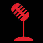 Black background, red icon of old style microphone