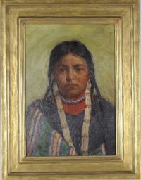 Bust portrait of a young female Native American girl in a mottled green and blue top and a green cloak or blanket with red, white and blue stripes.  Her hair is in four short braids, and she wears two necklaces - a short string of blue beads and a longer string with rows of long tubular shell or bone beads.