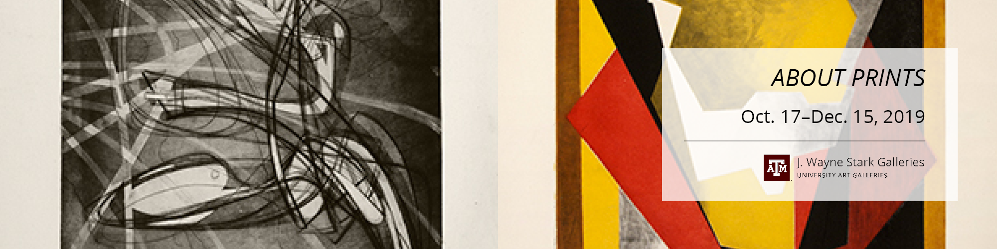 Two abstract works side by side. One is black and white, the other is red, yellow, and black geometric shapes.