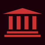 Black background, red icon of a building with columns and steps