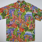 Hawaiian shirt manufactured in 1946 depicting Hawaiian villagers, lush green foliage, blue skies, and flowers