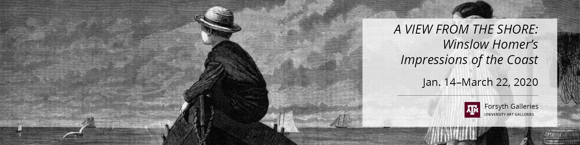 Black and white drawing of boy sitting on boat watching the shore.