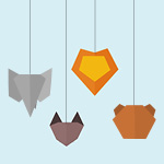 Light blue background, animal shapes depict elephant, fox, lion, and bear face silhouettes suspended from string.