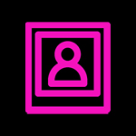 Fuschia pink icon of a unisex person's headshot photo  on a black background