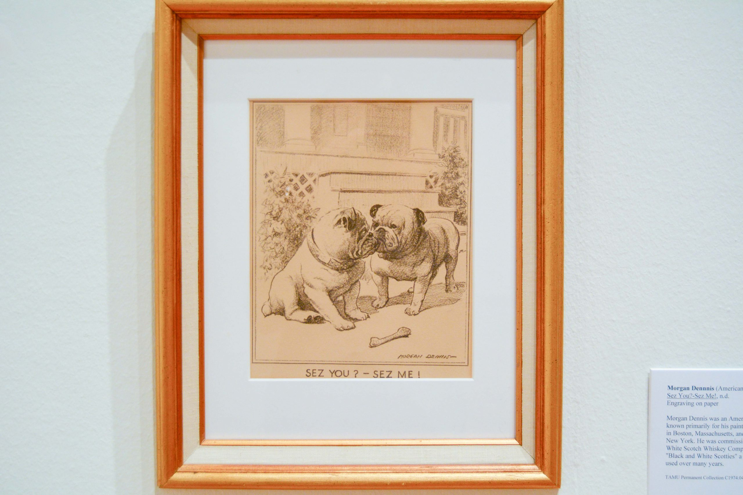 "Drawing of two Bulldogs sniffing each other; text reads ""Sez you? - Sez Me!"""