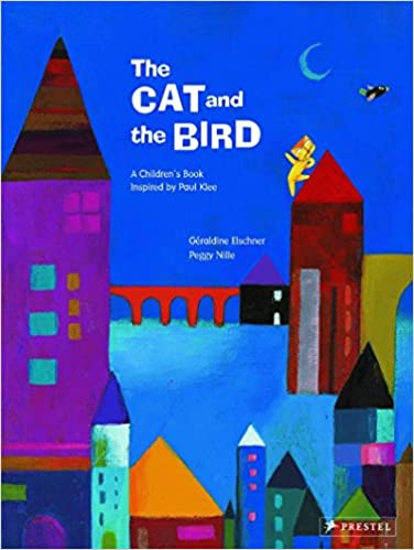 Book cover; blue background, tall, colorful buildings in the foreground; a yellow cat is on the roof of one of the buildings chasing a bird flying in the air; there is a red bridge blow and the moon is out.
