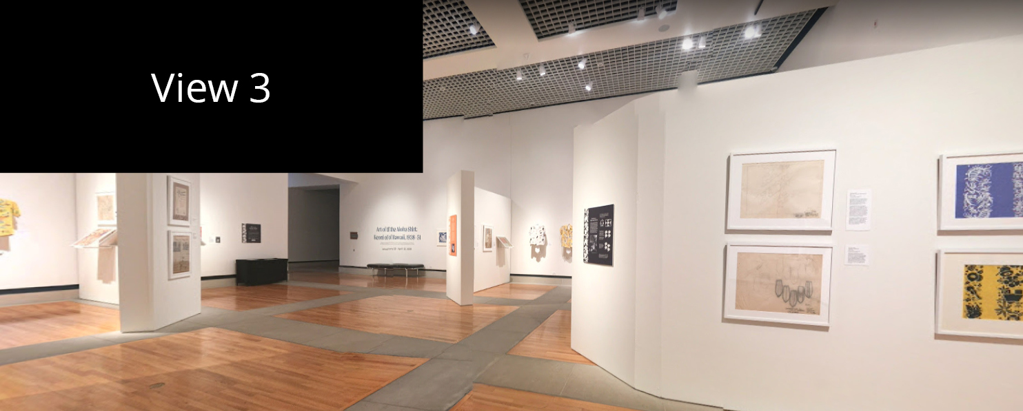 Interior view of the J. Wayne Stark Galleries. In the distance you can see Aloha shirts and paintings on the walls.