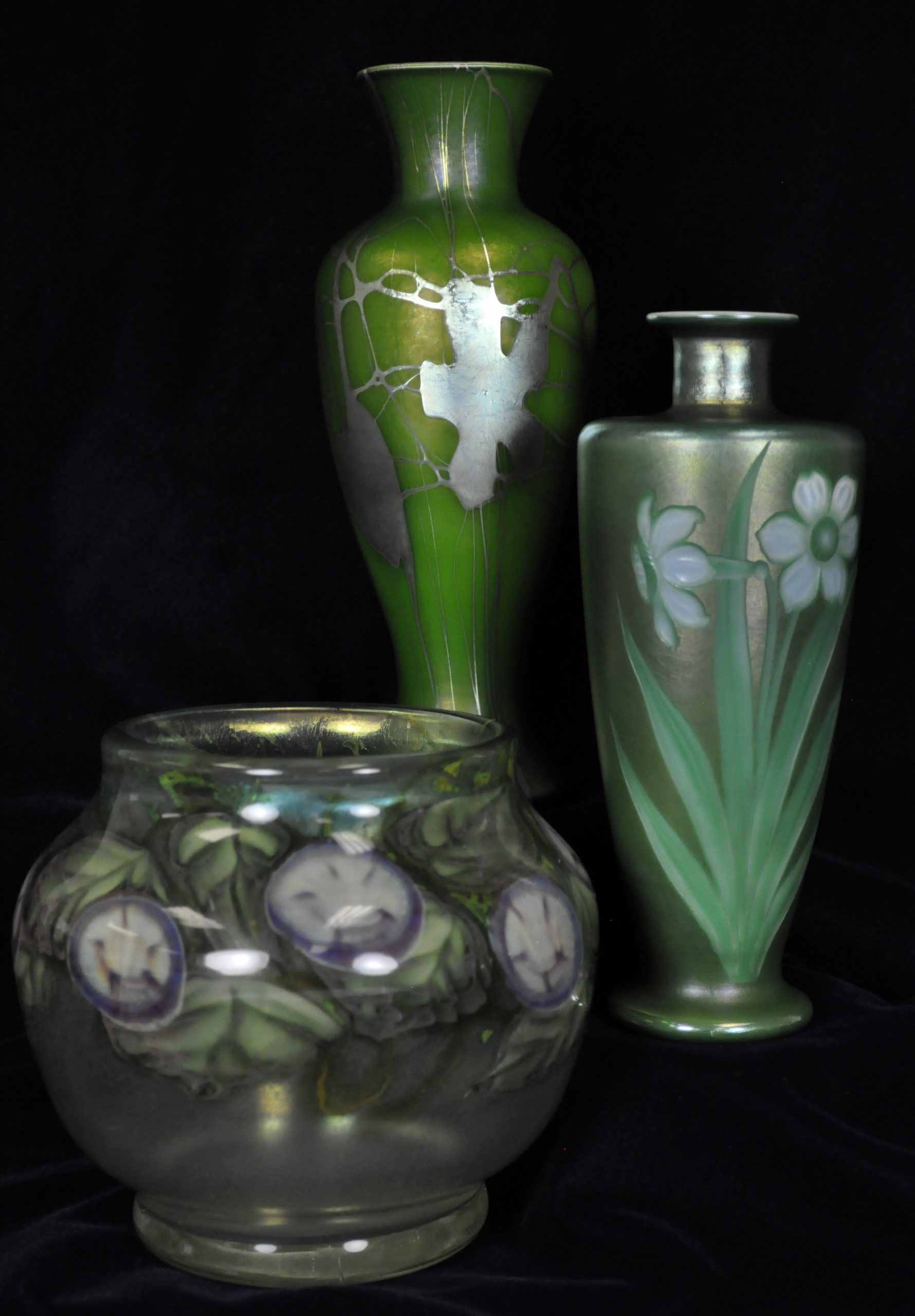Grouping of three green vases