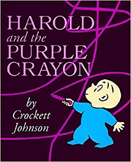Book Cover; Dark purple background; little boy in blue pajamas draws on cover with lighter purple colored crayon