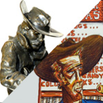 A divided diagonal image. The top portion shows a sculpture of the face of a cowboy wearing a cowboy hat. The bottom image is a lithograph of a colorful cowboy in a cowboy hat.