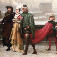 Of the painting, Boughton commented that he tried to capture a 13th century French town in the winter where a number of richly-dressed figures are depicted on their progress to church. The focus of the work is a well-dressed woman, surrounded by her admirers and attendants. The earnest expression of her suitors is rebuffed by the cold look of disinterest from the lady that mirrors the frigid townscape.